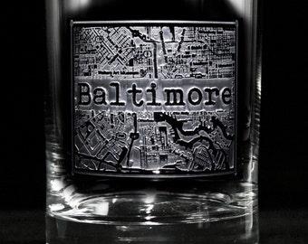 Street Maps Glassware, Hometown City Rocks Glass, Set of 2