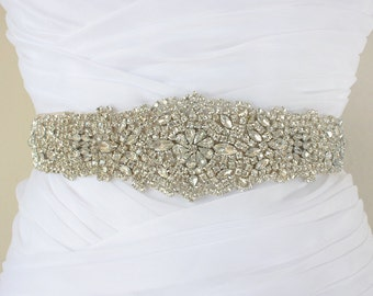 GIANNA - Vintage Inspired Crystal Bridal Sash, Rhinestone Bridal Belt, Wedding Beaded Sashes, Bridal Accessory