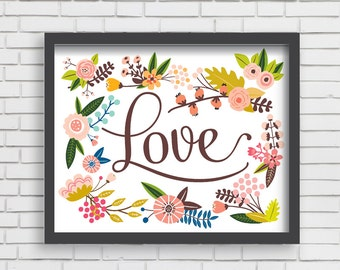 Baby Nusery Decor Art Print Floral Love Design, Nursery Decor Art Print 16x20