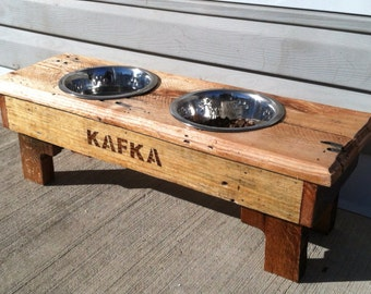 Reclaimed Rustic Pallet Furniture Dog Bowl Stand Pet