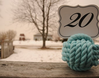 Nautical Wedding - Wedding Knots - Table Number Holders - Aqua Cotton Rope Knots - Nautical Decor - (this is for 10 knots)