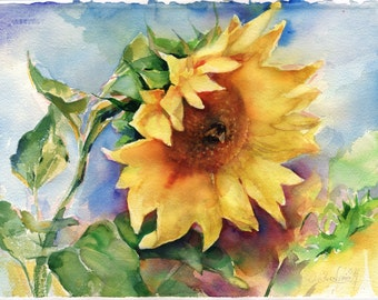 Sunflower painting - Watercolor sunflower Watercolor painting -  Sunflower wall art - Sunflower print