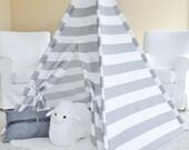 GREY STRIPE Indoor/Outdoor Canvas, Teepee, Play Tent, Play House, Nursery, Teepee Tent, Kids Teepee, Indoor