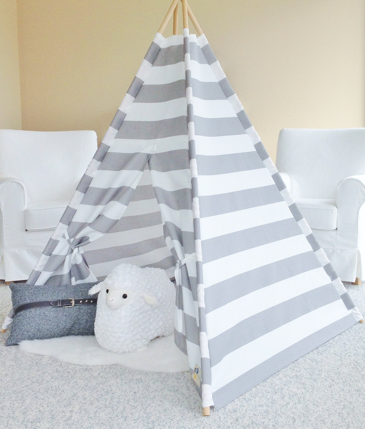 Grey Stripe Indoor Outdoor Canvas Teepee Play Tent Play