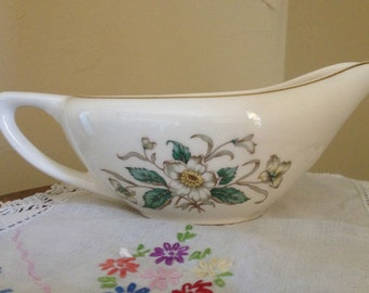 Vintage Edwin Knowles Carolina Magnolia Fine China Gravy boat with Gold Trim. Made in the late 1940's early 1950's