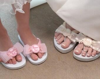 FLOWER GIRL Flip Flops, Children & Girls, Beach and Outdoor Weddings, Personalize with Name – Initial – Monogram, Custom, Comfy Foam Flats