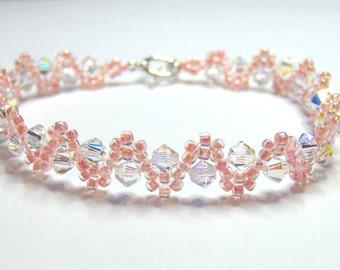 Apricot wedding bracelet, peach bracelet, swarovski bracelet, wedding bracelet, seed bead bracelet, bridal bracelet, bicone bracelet BR002