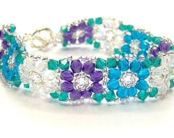 CLEARANCE Purple teal and turquoise crystal flower bracelet, summer bracelet, floral bracelet, teal, turquoise, purple bracelet