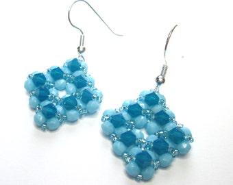 Caribbean blue opal diamond shaped swarovski earrings, blue earrings, crystal earrings, statement earrings, swarovski earrings, ER023