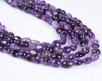 0092   Natural amethyst Pebble Chips loose gemstone beads 16""