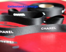 """Authentic Chanel ribbon 1 yard black and white LOGO satin 3/4"""" for hair bows headband dog collars key fob scrapbooking gift wrapping"""