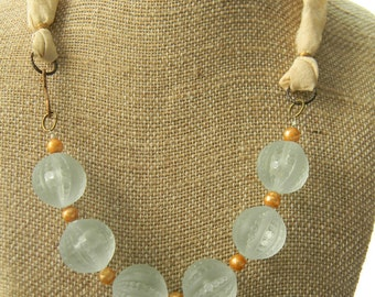 Vintage Lucite, Pearl, and Silk Necklace
