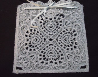 Four Hearts Lace Goody Bag or Sachet