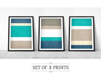 Stripes wall art Set of 3 PRINTS. Teal and taupe Stripes print stripes poster Stripes poster Set of prints Retro Stripes art teal print