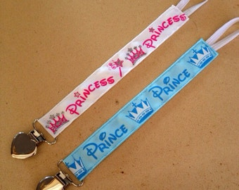 Prince or Princess Pacifier/Toy Clips - you pick!