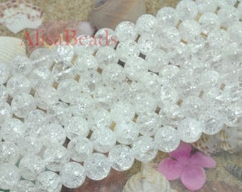 Snow Clear Quartz Rock Crystal Gemstone,smooth round,10mm,Loose beads,15 inches