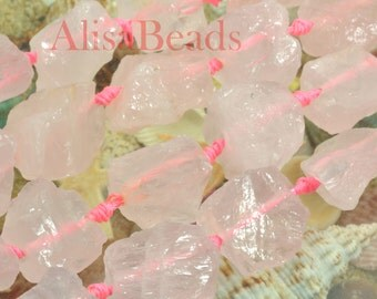 Rose Quartz Rough,Nugget Chunks,15x20-25x30mm,beads,15 inches