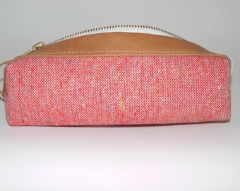TWEEDY red cosmetic-bag, pencil-case cotton-leather lined with oilcloth
