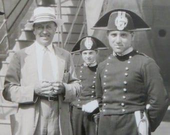 Original 1930's Ocean Liner Tourist and Crew Snapshot Photo - Free Shipping