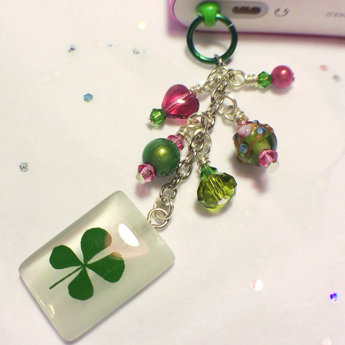 st s day lucky charm cell phone charm dust