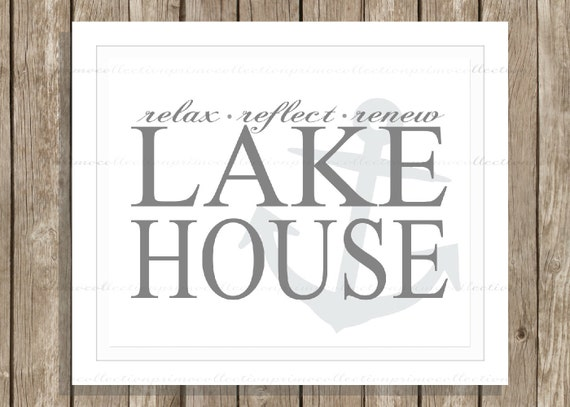 Wall Decor For Lake House : Items similar to lake house wall art print or