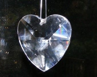 Crystal Heart Prism SET OF 2 Faceted Austrian Suncatcher Valentines Jewelry 40mm