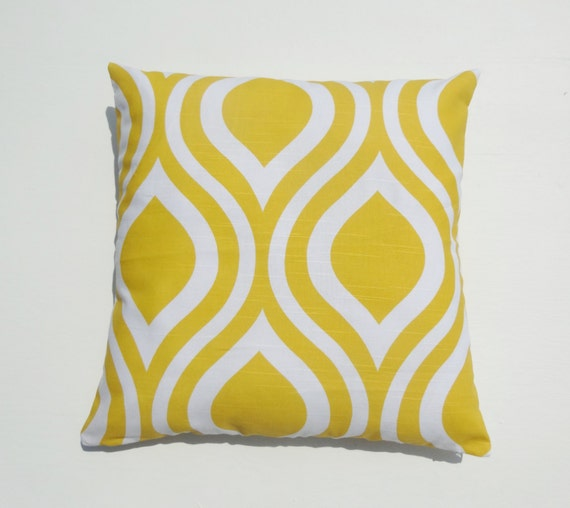 """Emily Yellow and White PillowCase, Pillow Cover, Lumbar cover, Kidney, Sham case, 18x18"""" and Many more sizes Available"""