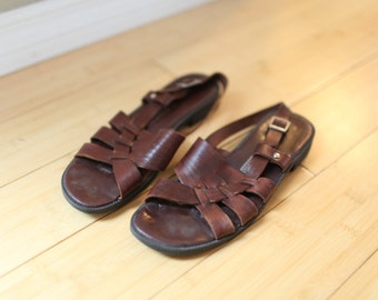 vintage woven brown leather sandals womens 6 1/2 *
