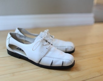 vintage woven white leather lace up hurache oxfords sandals womens 7