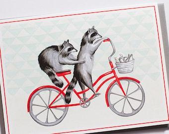 Raccoons on bike, cycling raccoons, raccoons card
