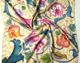Hand Painted Silk Scarf. Unique  Scarf. Handmade Scarves.Batik shawl ''Baroque'' hand-painted on silk.  Luxury gift for her.  Made to order.