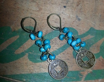 Turquoise Brass Dangle Earrings with Stamped Coin
