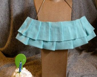 "Unique repurposed pleated fabric bib necklace on 16"" adjustable silver chain"