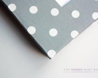 Free shipping. MODERN Baby Book // Grey and White Polka Dot Cover // Baby Scrapbook. Baby Keepsake. Memory book. Shower present