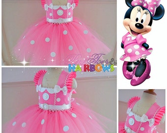 Minnie Mouse Tutu dress- Minnie Mouse tulle dress-Minnie Mouse dress- Minnie Mouse costume-Pink Minnie mouse dress-Minnie Bowtique dress