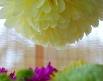 3 pastel tissue paper pompoms // hanging tissue flowers // pastel baby shower// yellow green nursery ideas // yellow green wedding/ decorate