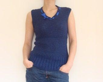 Hand knitted navy blue women s wool vest knit waistcoat knitted tank