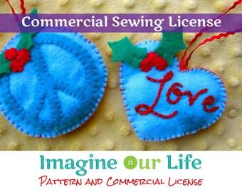 Peace & Love Felt Ornament Commercial License