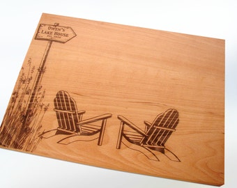 Custom Cutting Board Adirondack Chair Destination Wedding Present Coastal Decor Personalized Retirement Coworker Gift