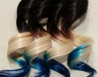 "18"" 100% Human Pastel Hair Extensions 7Pcs Clip in # SPLIT ombré"