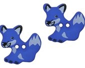 2 Fox 7/8 inch (22 mm) Dill Novelty Sewing Buttons Blue Color