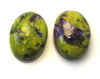 Green Stichtite Cabochons Oval Shape 14 x 10mm Beautiful Moss Green Color with Purple Accents (3671)