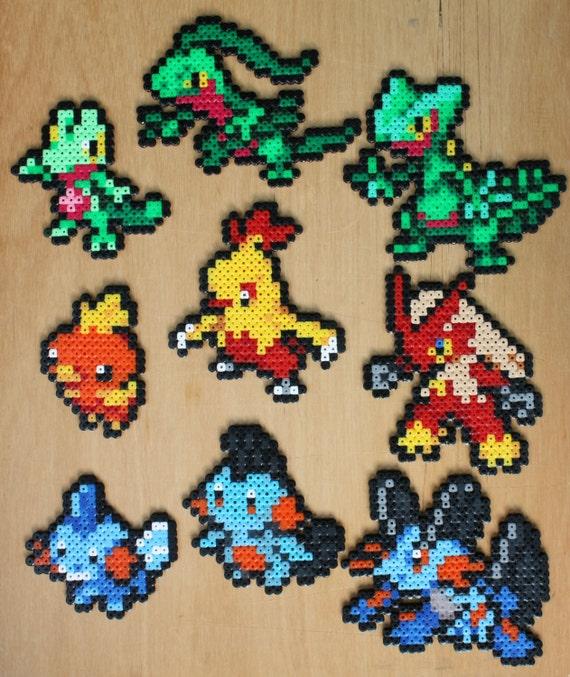 Sprite pokemon perle g n ration trois starter set hama - Pokemon perle evolution ...