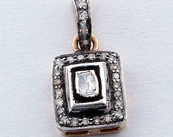 Victorian  0.90cts Antique Cut/Rose Cut Diamond Pendant , Free Shipping Worldwide