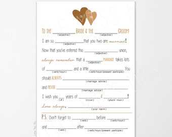25 Mad-lib Wedding Advice cards | Wedding Reception Game | Marriage Advice Mad-lib