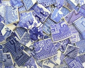 Classic BLUE WILLOW Blue & White China Plate Mosaic Tile Pieces Toile Transferware Floral Set of 100+