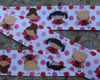 """3 yards Lady bug Girl Printed Ribbon 1"""" Lady Bug Ribbon Hair Bow Ribbon"""