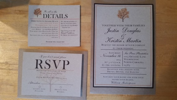 Standard Wedding Invitation Wording: Standard Fall Wedding Invitations By AshlyBDesigns On Etsy