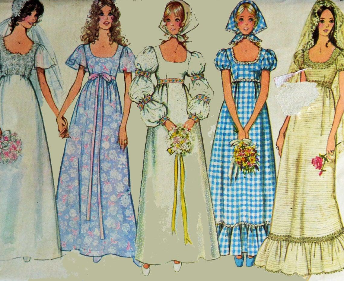 70s Wedding Dress Pattern Vintage Empire Waist Puff Sleeve