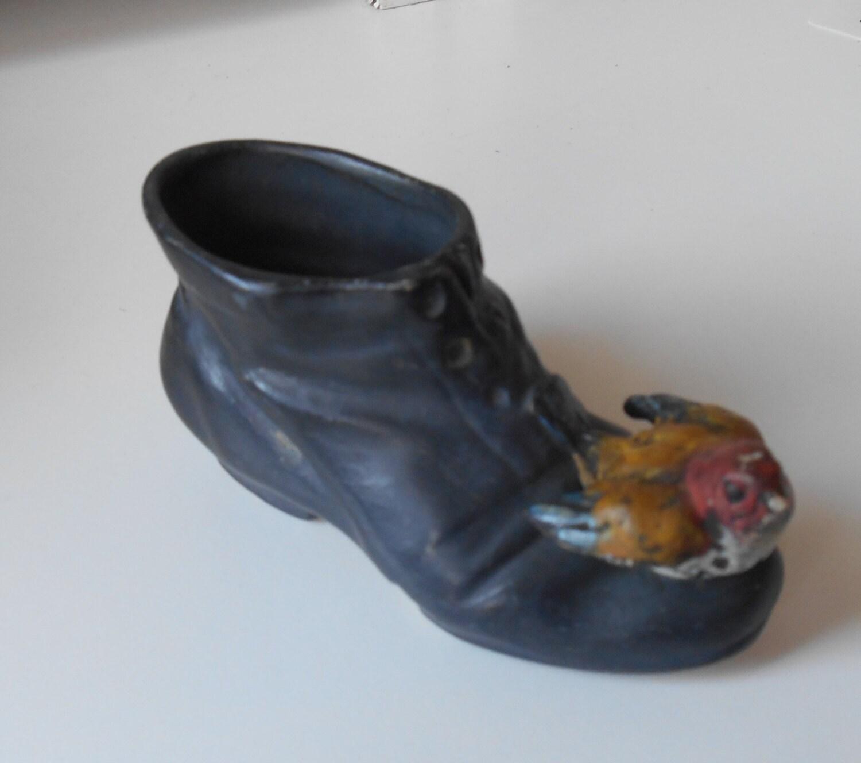 Sale vintage match holder pottery black boot with bird - Bird toothpick holder ...